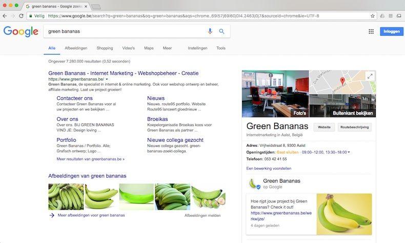 Hoe een Google Post maken - resultaat